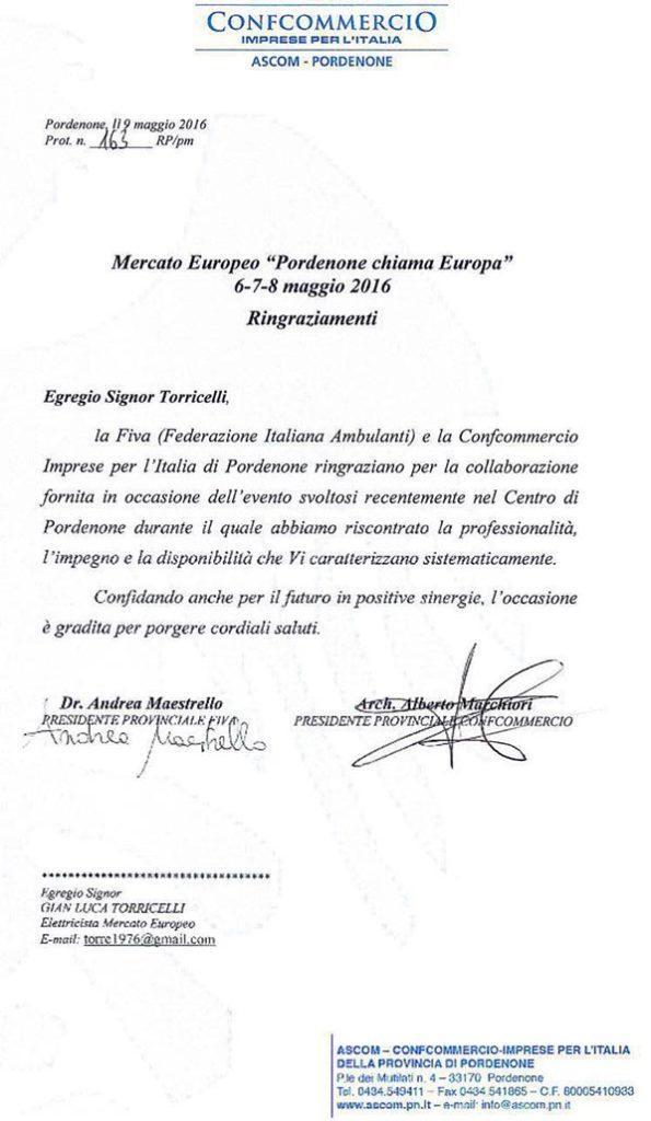 Lettera ringraziamenti FIVA Ascom Pordenone