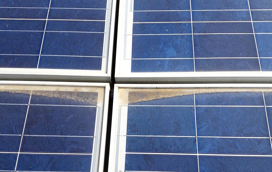 Deposito di sporco in pannello fotovoltaico