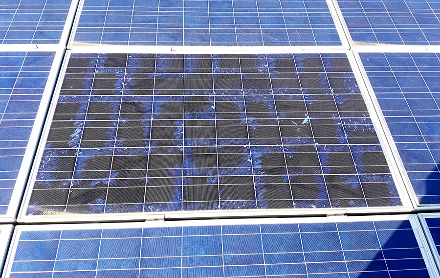 Bruciatura hot spot in pannello fotovoltaico