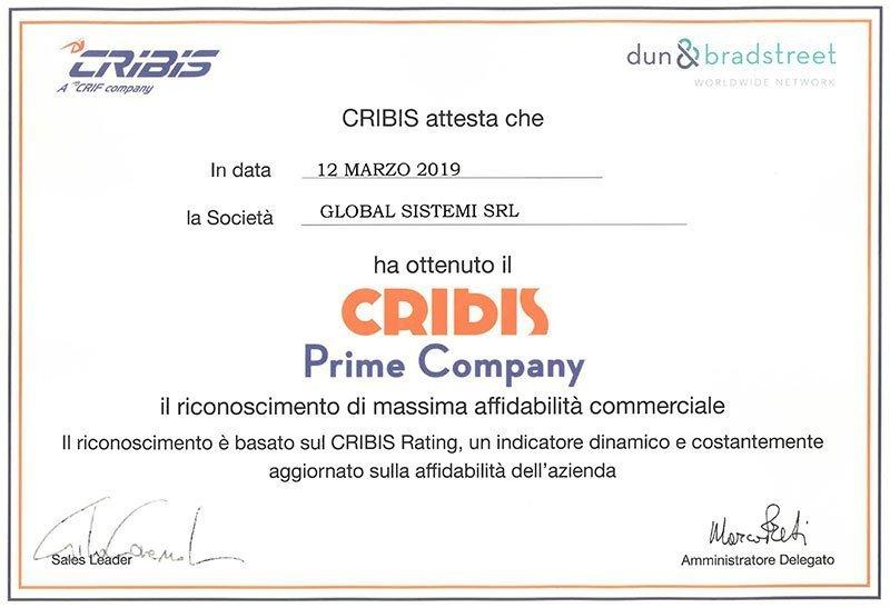 Global Sistemi ottiene l'attestato CRIBIS Prime Company