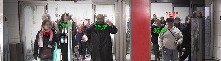 Persone a cui viene controllata la temperatura tramite telecamera a infrarossi